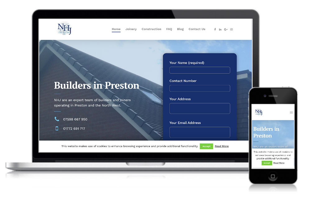 NHJ Construction Web Design